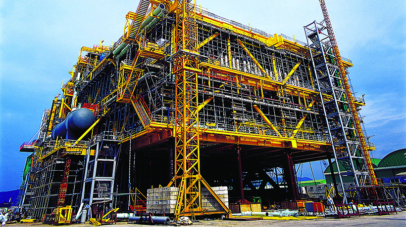 Drilling platform under construction,crane and scaffolding